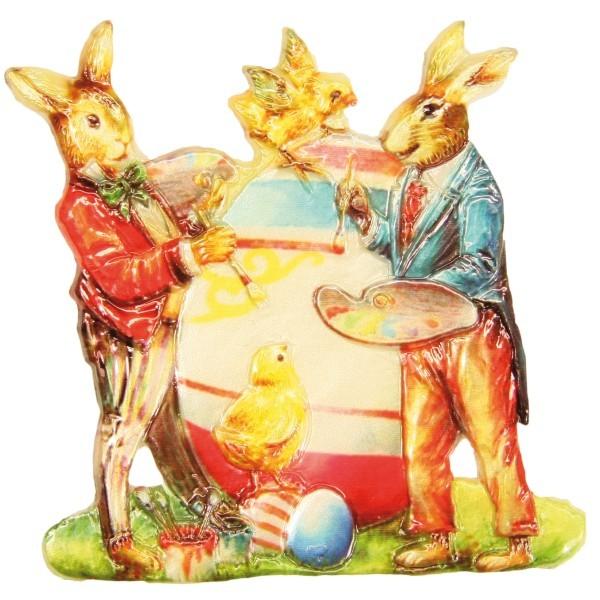 Wachsornament Hasen mit Ei, 7,5 x 7,5 cm
