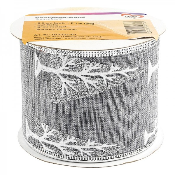 Geschenk-Band, Tannenbaum, 6,3cm breit, 2,7m lang, grau-meliert