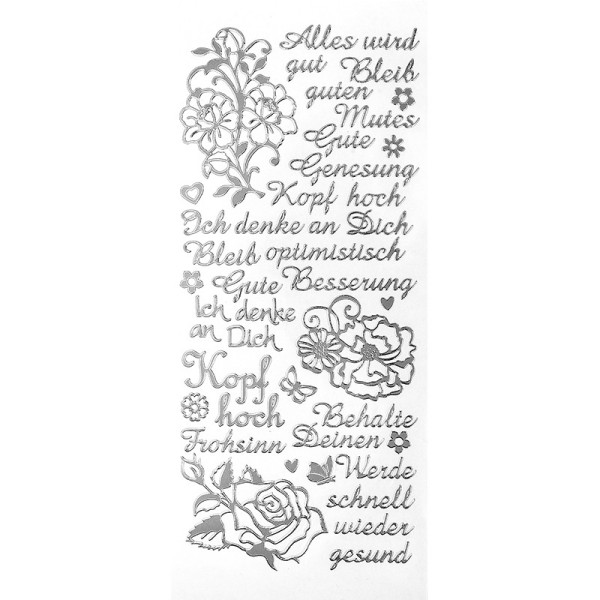 "Sticker, Schriften, ""Kopf hoch/Gute Besserung"", uvm., Spiegelfolie, silber"