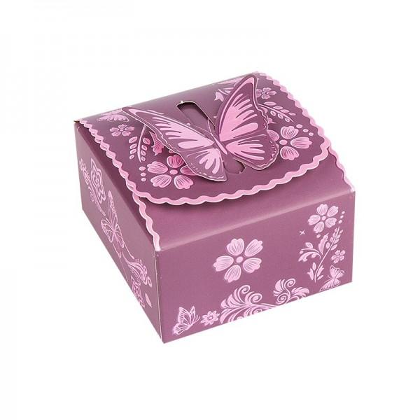 Zier-Faltboxen, Design 4, 7cm x 7,5cm x 4cm, aubergine mit rosafarbener Perlmuttveredelung, 10 Stück
