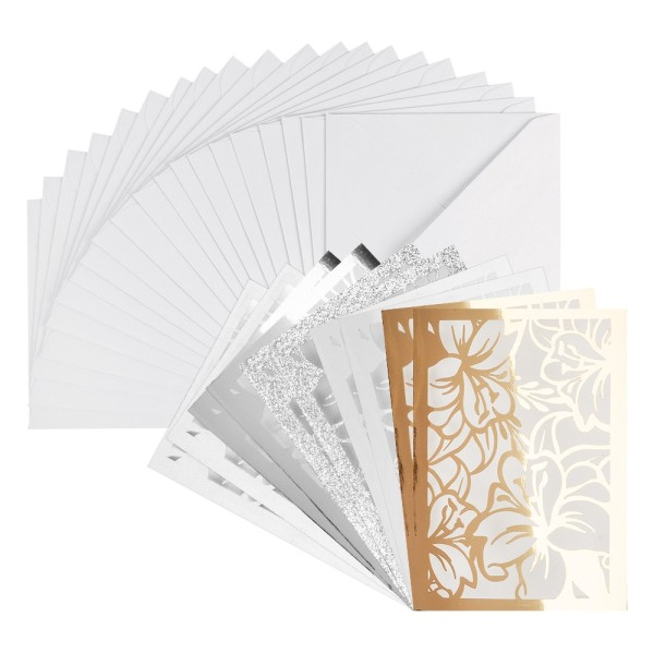 Laser-Grußkarten Mini, Lilie, 9,5cm x 7cm, versch. Farben, mit Umschlägen, 20 Stück