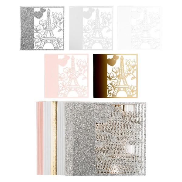 Laser-Kartenaufleger, Paris, 14cm x 14cm, 220 g/m², 5 Farben, 20 Stück