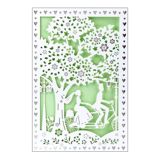 """Laser-Grußkarte """"Hochzeit 2"""", 12x18cm, mit Umschlag & hellgrünem Einleger"""