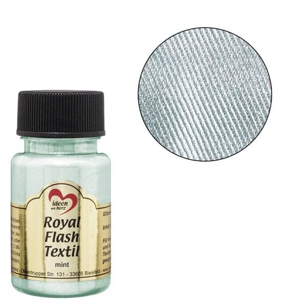 Royal Flash Textil, Glitzer-Metallic-Farbe, 50 ml, mint