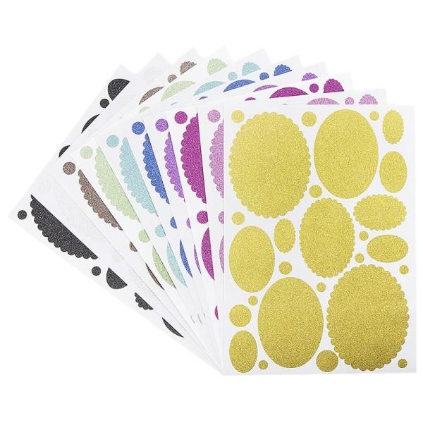 Glitzer-Sticker, Ornamente und Rahmen 1, DIN A4, 10 Farben, 10 Bogen