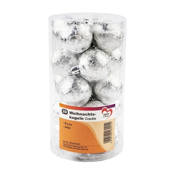 Weihnachtskugeln, Crackle, Ø 4cm, silber, 20 Stück
