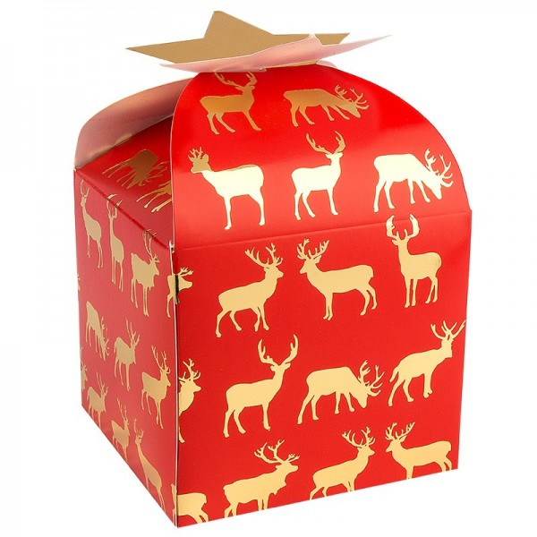 Zier-Faltboxen, Rentier, 11cm x 11cm x 10cm, rot mit Goldfolienveredelung, 10 Stück