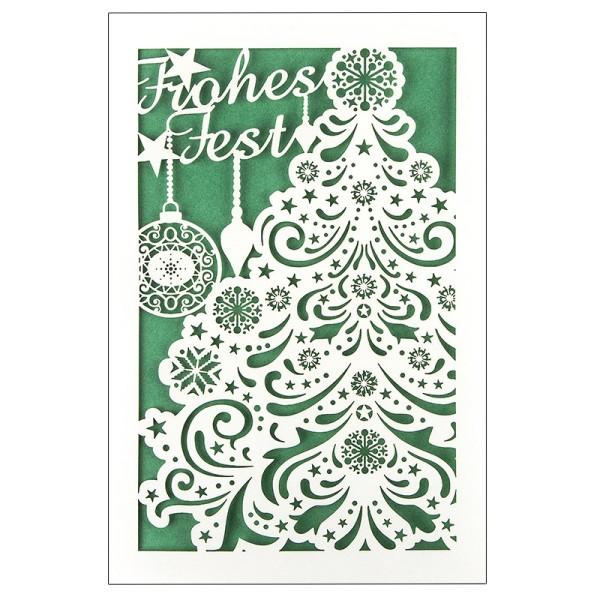 """Laser-Grußkarte """"Weihnachten 5"""", 12x18cm, mit Einleger & Umschlag"""