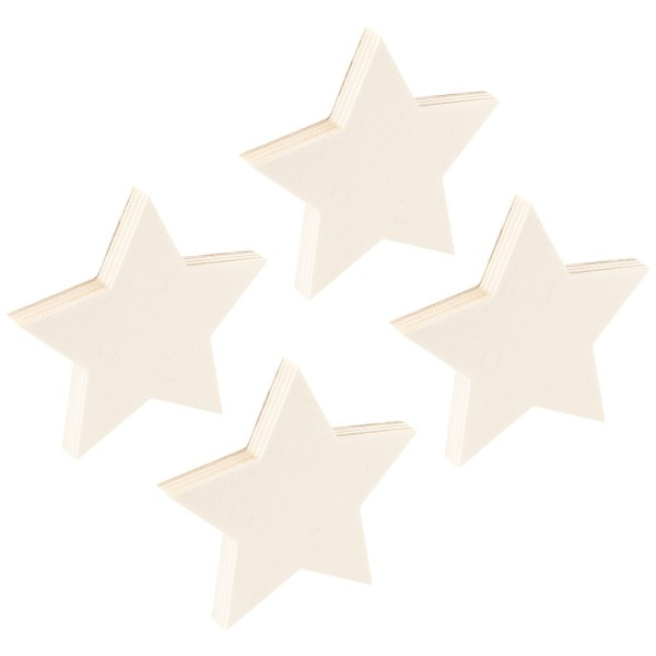 Sterne, Holz, 10cm x 10,5cm x 1cm, zum Aufstellen, 4 Stück