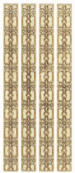 Microglitter-Sticker, Blütenbordüren, gold