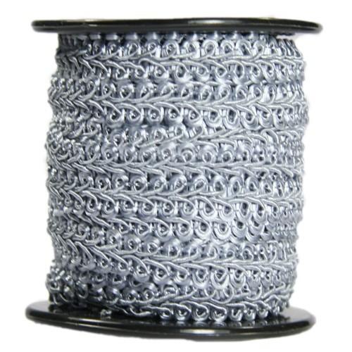Bordürenband, Stoff, edle Schlaufen, 9mm x 10m, grau