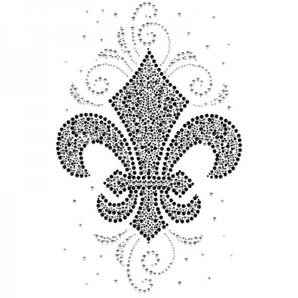Bügelchaton-Design, DIN A4, mehrfarbig, Französische Lilie, silber/grau/schwarz