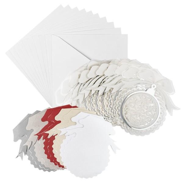 Kristallfolien-Grußkarten, Christbaumkugel, 15 x 16cm, Einleger 5 versch. Farben, Umschläge, 10 Stk