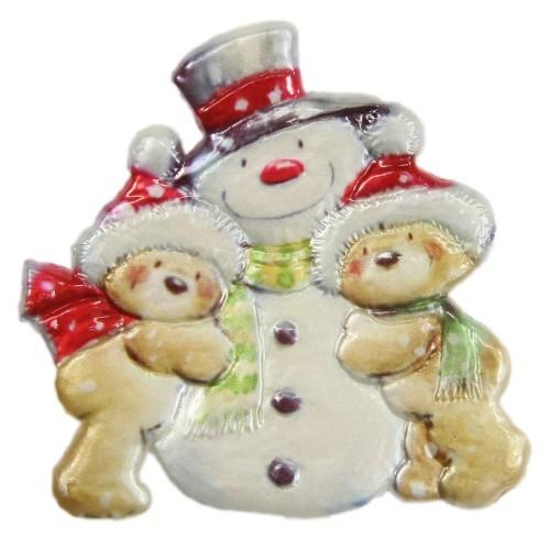 Wachsornament, Weihnachts-Teddys mit Scheemann, farbig, geprägt, 7x7cm