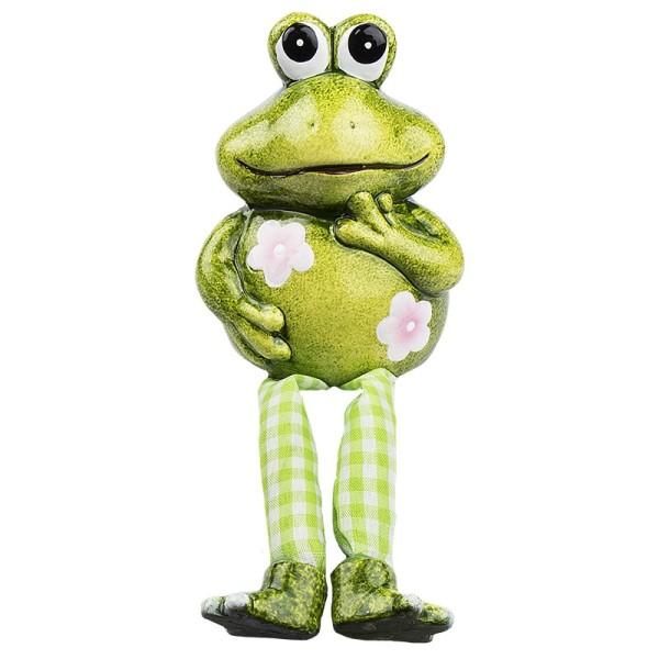 Frosch mit Schlenkerbeinen, 18cm hoch, Kantenhocker