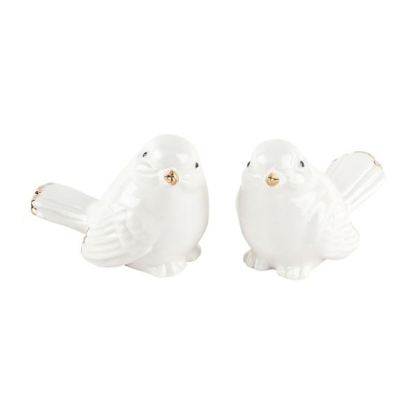 Porzellan-Figuren, Vögel, 5,6cm x 4,5cm x 3,2cm, weiß, mit Goldverzierung, 2 Stück