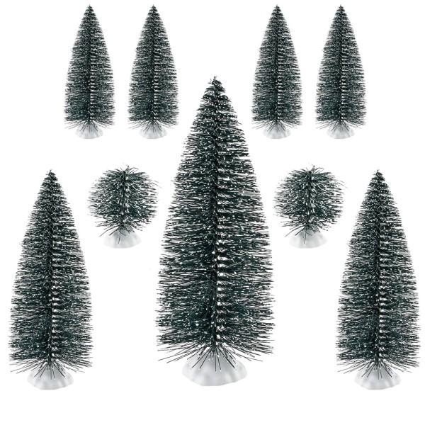 Deko-Schneetannen, verschiedene Größen, 9 Stück