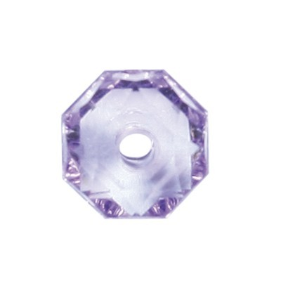 Oktagon-Perlen, transparent, 8,5mm, violett, 50 Stück