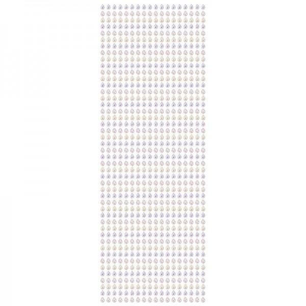 Schmuckstein-Bordüren, selbstklebend, facettiert, irisierend, 29cm, Tropfen, weiß