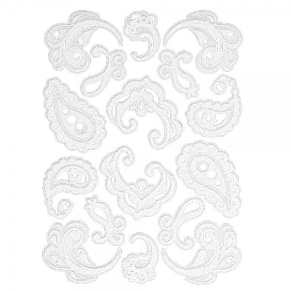 Velours-Stickerbogen, 15cm x 11cm, Ornamentik, Design 5