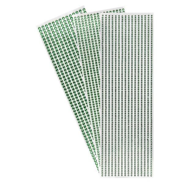 Schmuckstein-Bordüren, rund: Ø 3mm, Ø 4mm, Ø 5mm, selbstklebend, facettiert, grün, 3 Bogen