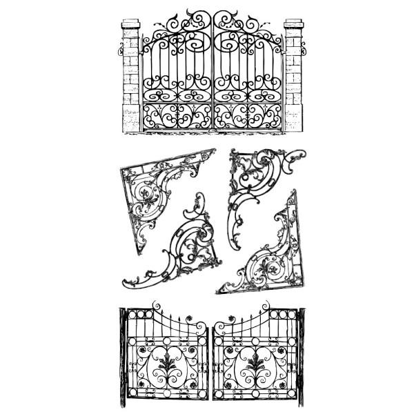 Feinkontur-Stempel, einzelne Motive auf Trägerfolie, Tore & Ecken