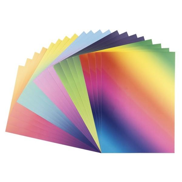 Deko-Karton, Farbverläufe intensiv, DIN A4, 5 verschiedene Farbverläufe, selbstklebend, 20 Bogen
