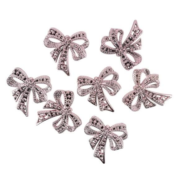 Metallic-Schmucksteine, Schleife, rosa, 4,5cm x 4,5cm, 7 Stück