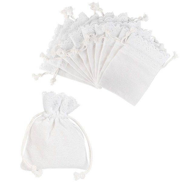 Stoffbeutel mit Zierspitze, 10cm x 12cm, weiß, feine Leinenstruktur, zum Zuziehen, 10 Stück