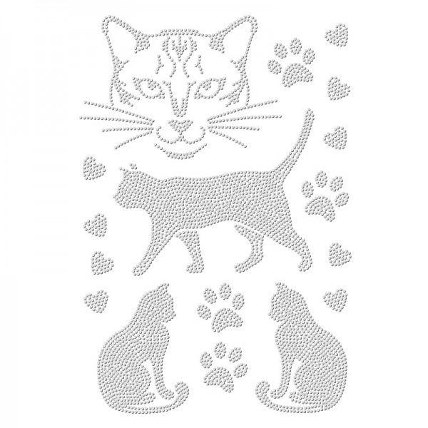Bügelstrass-Design, DIN A4, einfarbig, klar, Katzen