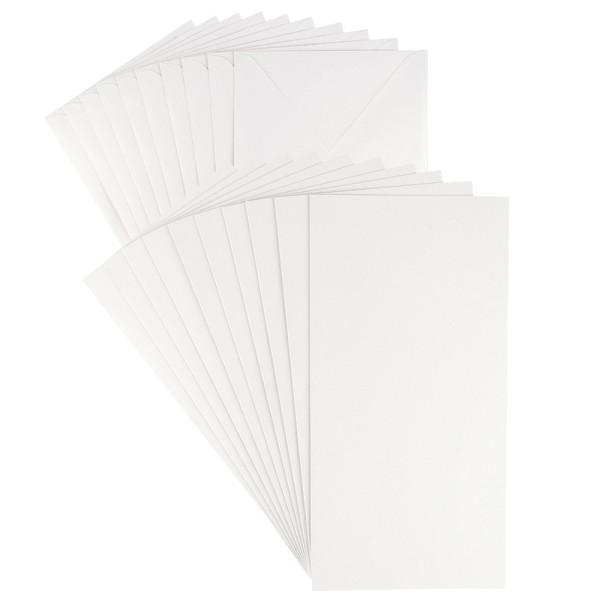 Grußkarten, Perlmutt, weiß, 20-teilig, DIN lang, 250 g/m², inkl. Umschläge, 10 Stück