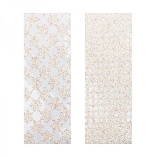 """Stoffe Royal """"Kristalltraum"""", selbstklebend, 10 x 29 cm, 2 Stück, weiß-irisierend"""