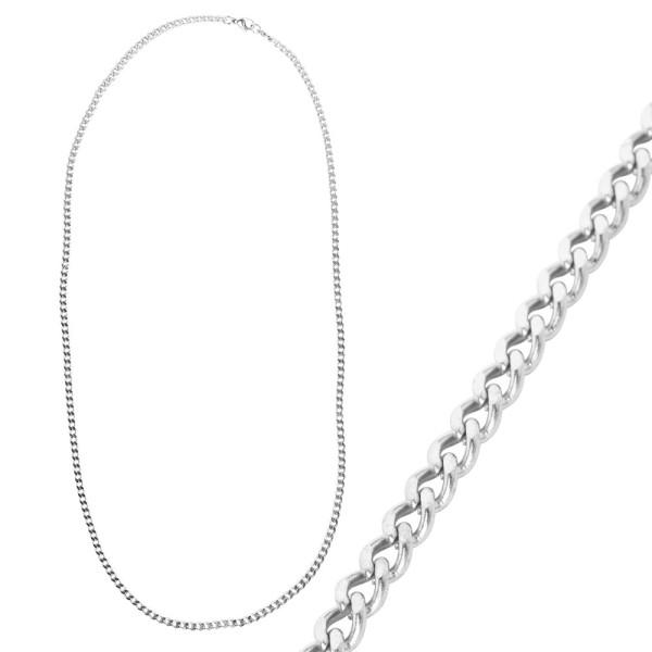 Glieder-Halskette, aus Edelstahl, Design 2, 60cm lang, Stärke: 3mm, silber