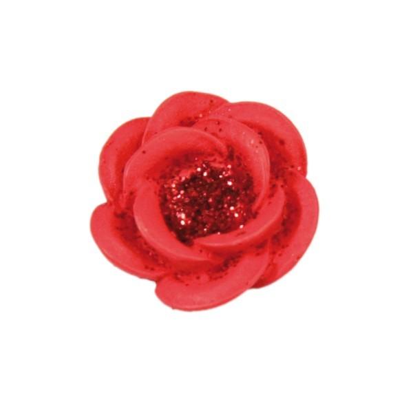 Relief-Rosen-Blüten mit Glimmer, 1,9 x 1,9 cm, 10er Set