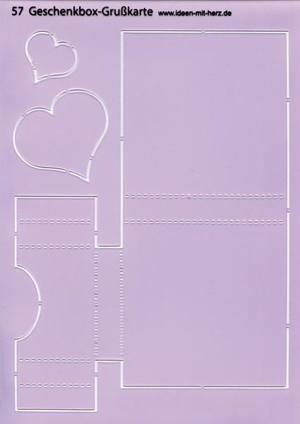 """Design-Schablone Nr. 57 """"Geschenkbox-Grußkarte"""", DIN A4"""