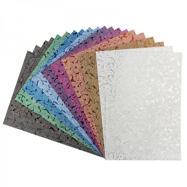 Effekt-Papier, Floral-Design, metallic, DIN A4, 128g/m², 20 Blatt