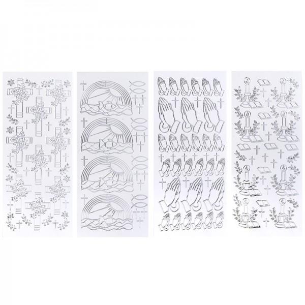 Stickerbogen, Kirchliche Anlässe, Spiegelfolie, silber, 4 Stück