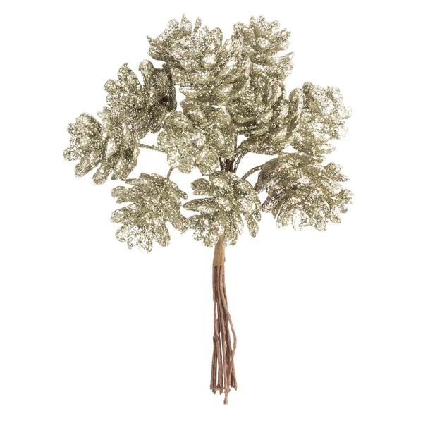 Deko-Zweige, Tannenzapfen, 10cm lang, am Draht, goldener Glimmer, 12 Stück
