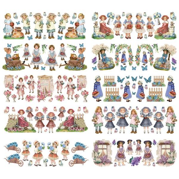 Transparent-Stickerbogen, Kinder, verschiedene Designs, 10cm x 30cm, 10 Bogen
