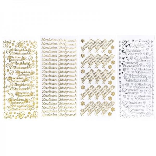 Stickerbogen, Festlichkeiten, Spiegelfolie, gold & silber, 4 Stück