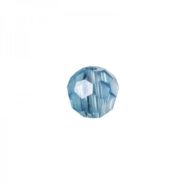 Glas-Perlen, transparent, Ø6 mm, 20 Stück, aquamarin-irisierend