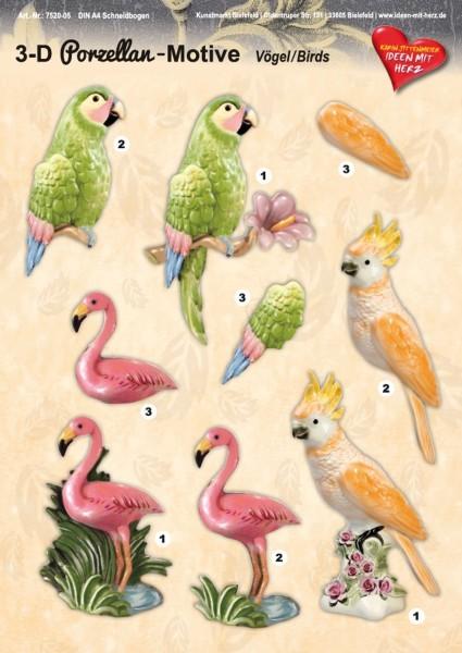 3-D Porzellan-Motive, Vögel, DIN A4 Bogen