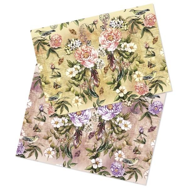 """Reispapiere, Nostalgie """"Blüten 2"""", DIN A4, 2 Designs"""