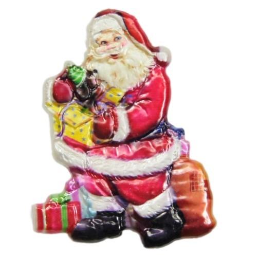 Wachsornament, Nikolaus mit Geschenk 1, farbig, geprägt, 7x7cm