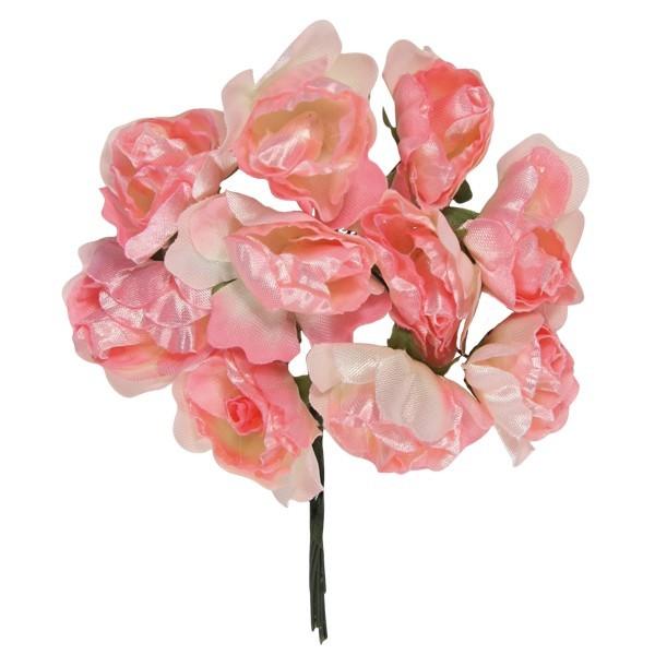 Deko-Rosen mit großen Blütenköpfen, weiß/rosé, 10er Set