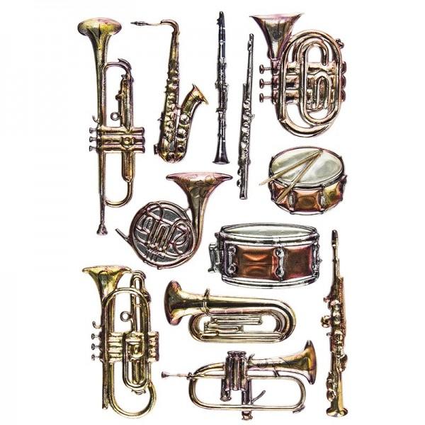 Relief-Sticker Nostalgie, Instrumente 1, 15,5cm x 10,5cm
