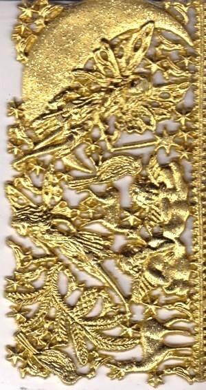 Wachsornament-Platte Elfe im Mond, 16 x 8 cm, gold mit Glimmer