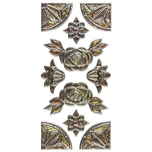 Relief-Sticker Nostalgie, Ornamente & Ecken 1, 17,5cm x 9cm