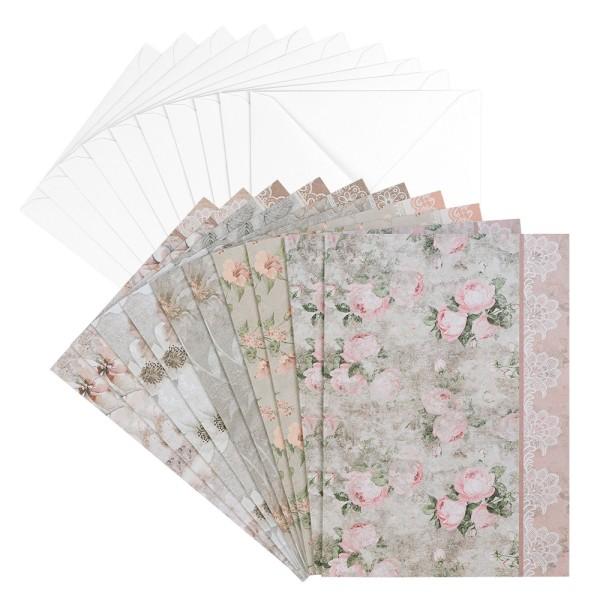 Motiv-Grußkarten & Umschläge, Marmor, Blumen, B6, 10 Stück