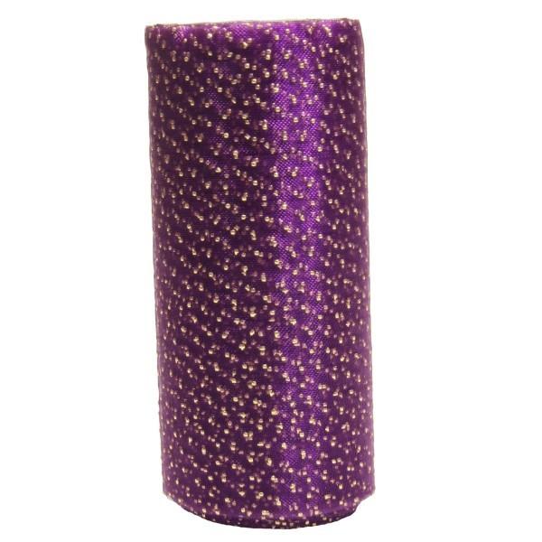 Deko-Tüll-Band mit Goldpunkten, 5 m, violett